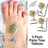 Palm tree temporary metallic tattoos | Photo by Jewel Flash Tattoos