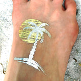 Palm tree beach temporary tattoo stickers for women | Photo by Jewel Flash Tattoos