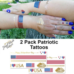 Patriotic tattoos with USA flag for women | Photo by Jewel Flash Tattoos