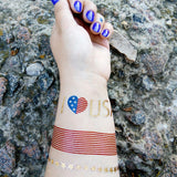 USA patriotic temporary tattoos for 4th of July, Memorial Day | Photo by Jewel Flash Tattoos