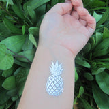 Pineapple temporary metallic tattoos in silver ink