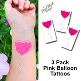 Pink balloon temporary tattoo for birthday party | Photo by Jewel Flash Tattoos