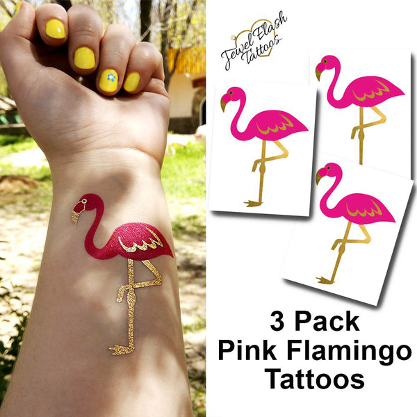 Pink flamingo tattoos summer tattoo stickers | Photo by Jewel Flash Tattoos