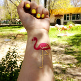 Pink flamingo fake tattoos for party, wedding, birthday | Photo by Jewel Flash Tattoos