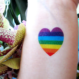 Small heart temporary tattoo sticker with rainbow for LGBT