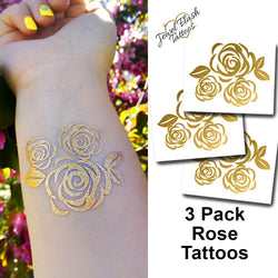 Roses temporary tattoos in metallic gold ink | Photo by Jewel Flash Tattoos