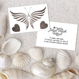 Temporary butterfly tattoo with small silver hearts design