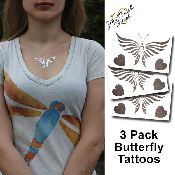 Cute butterfly tattoo for women inspired by jewelry - photo