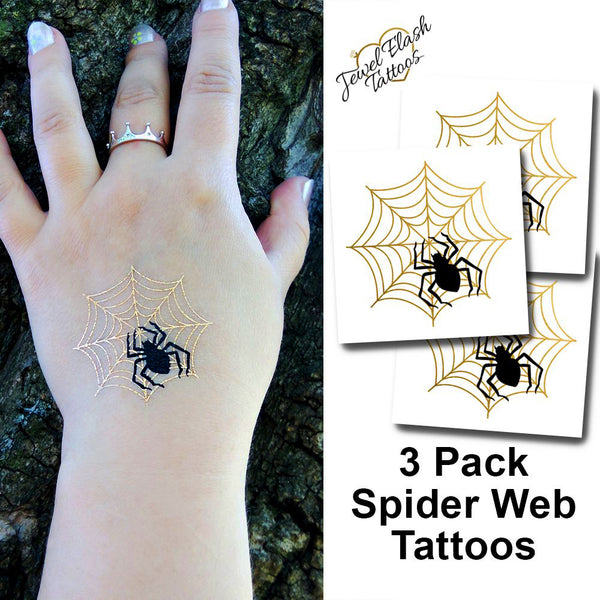 Spider temporary tattoos for Halloween, gold spider web tattoo | Photo by Jewel Flash Tattoos