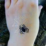 Black spider gold net temporary tattoos for Halloween and party | Photo by Jewel Flash Tattoos