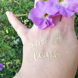 Love temporary metallic tattoos