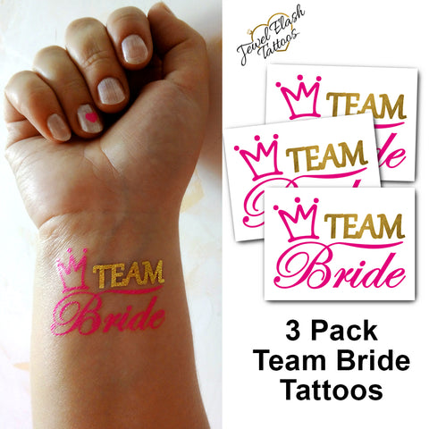 Team Bride tattoos for bachelorette party, wedding in gold and pink color | Photo by Jewel Flash Tattoos