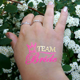 Team Bride flash tattoos gold and pink, wedding, bachelorette party | Photo by Jewel Flash Tattoos