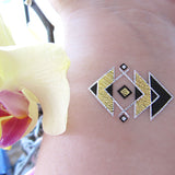 Triangle metallic gold tattoos