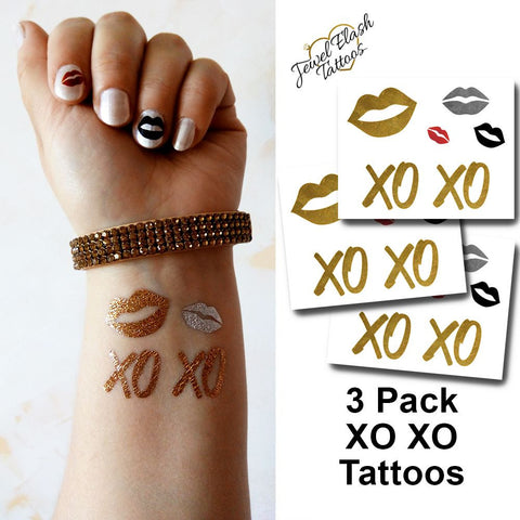 XOXO temporary tattoos in metallic gold, lips tattoo pack | Photo by Jewel Flash Tattoos