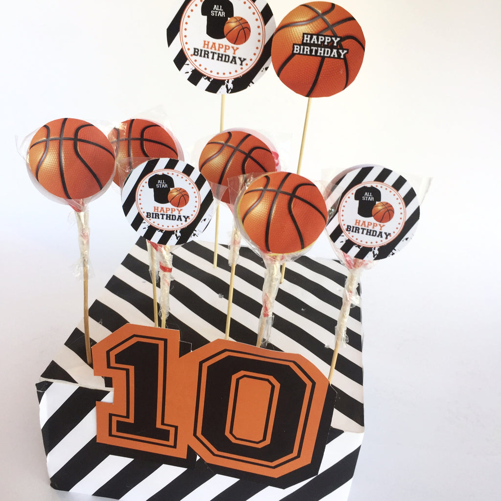 KB19008 Basketbol Temalı Lolipop Etiketi -Happy Birthday