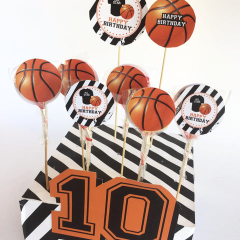 KB19008 Basketbol temalı lolipop etiketi-Happy Birthday