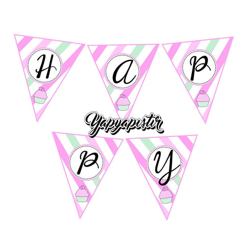 KG16003 Cupcake Temalı Happy Birthday Banner