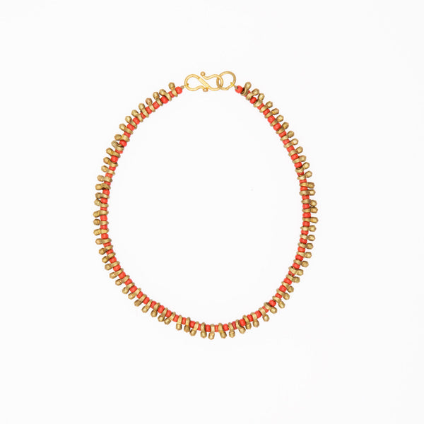 Brass & Orange Bead Anklet - Eclectic Bohemian