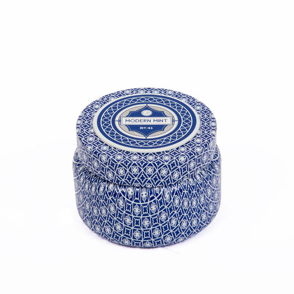 Modern Mint Printed Travel Tin Candle - Eclectic Bohemian