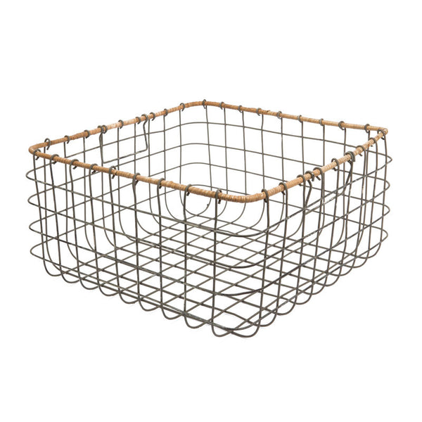 Lemba Distressed Grey Wire Basket - Eclectic Bohemian