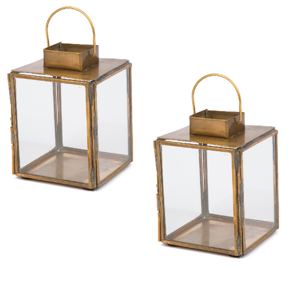 Aloma Lantern Set - Antique Brass - Eclectic Bohemian