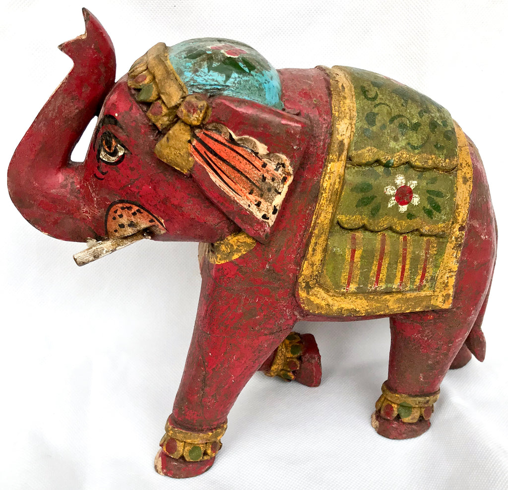 Wooden Elephant. Hand painted From India. - Eclectic Bohemian