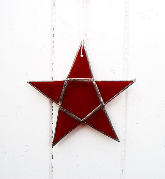 Stained Glass Star. Red. Handmade at Rumpus. - Eclectic Bohemian