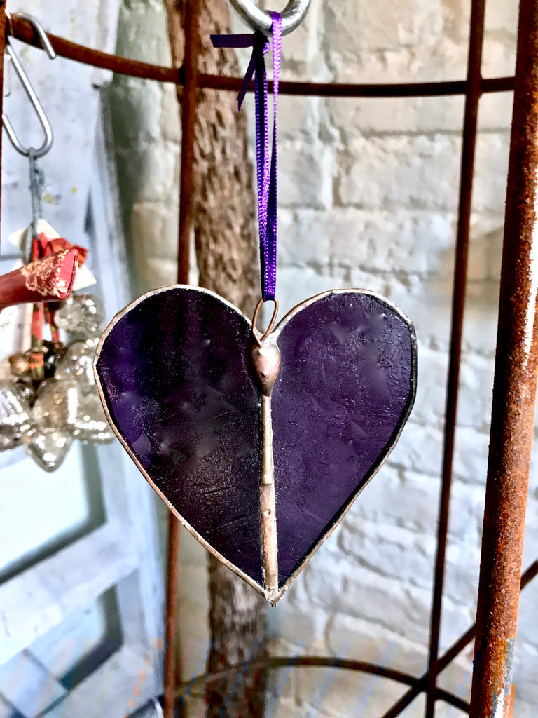 A Stained Glass Heart.  Purple. Smooth. - Eclectic Bohemian