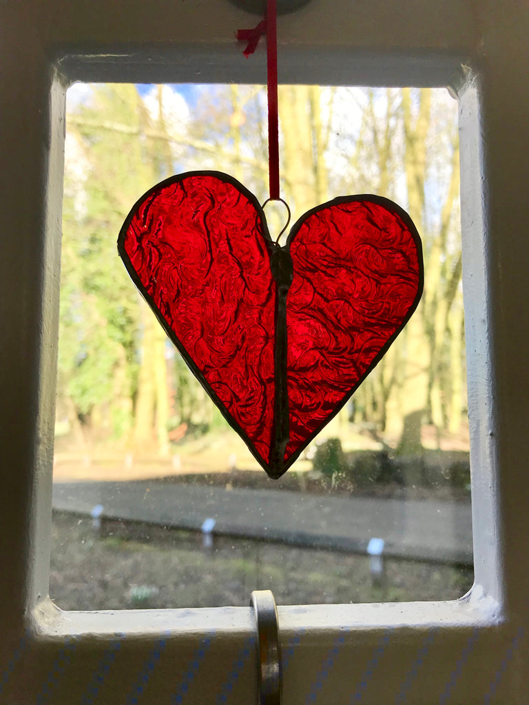 A Stained Glass Heart.  Red. Rippled. - Eclectic Bohemian