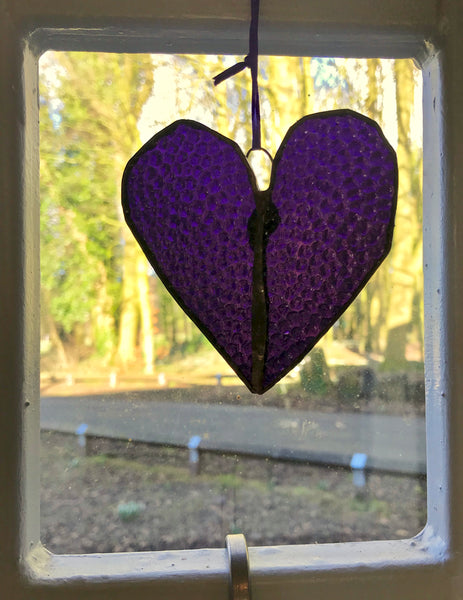 A Stained Glass Heart.  Purple. Rippled & smooth - Eclectic Bohemian