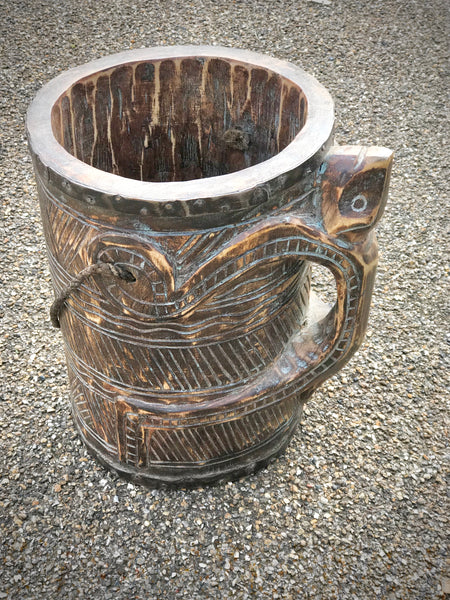A Hand carved Water Bucket from India. Sheesham Wood. - Eclectic Bohemian