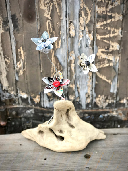 Kusudama Origami Flowers on Driftwood. - Eclectic Bohemian