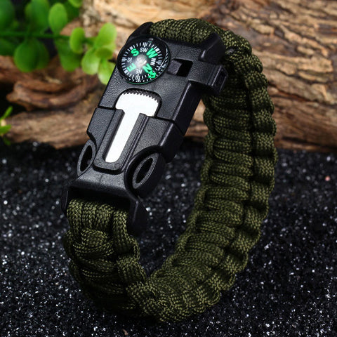 A survival bracelet with survival whistle design on the buckle.