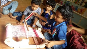 Weaving at PreKG School!