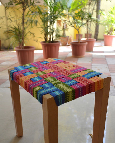Stool seat with Cotton Inkle woven belts!