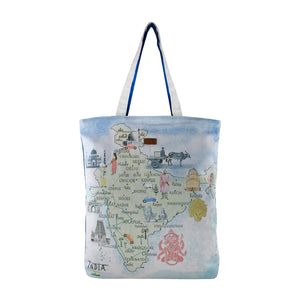 YOLO Cityscapes- India Tote for Women/Girls-Blue