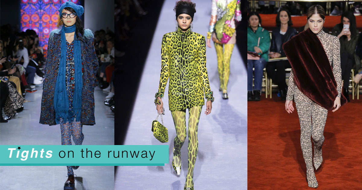 Spotted on the NYFW runway: printed, colorful, AND joyful tights