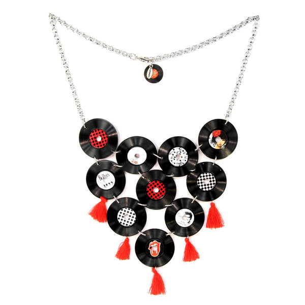 Rockabilly Vinyl Statement Collier - Red & White