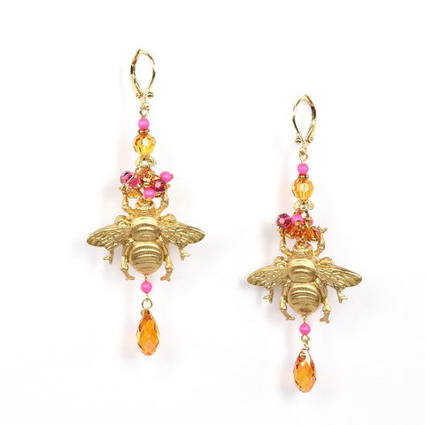 vintage golden metallic honey bee with swarovski beads earrings
