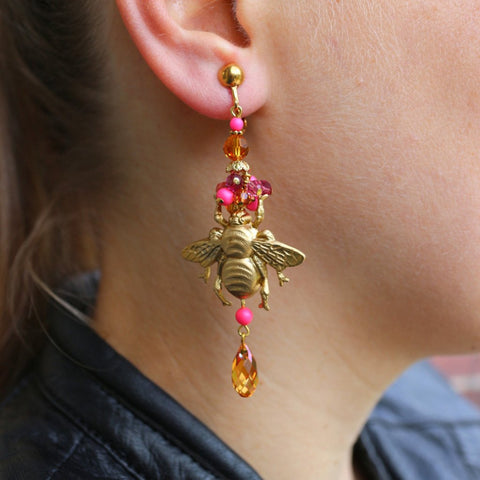 model showing vintage golden metallic honey bee with swarovski beads earrings