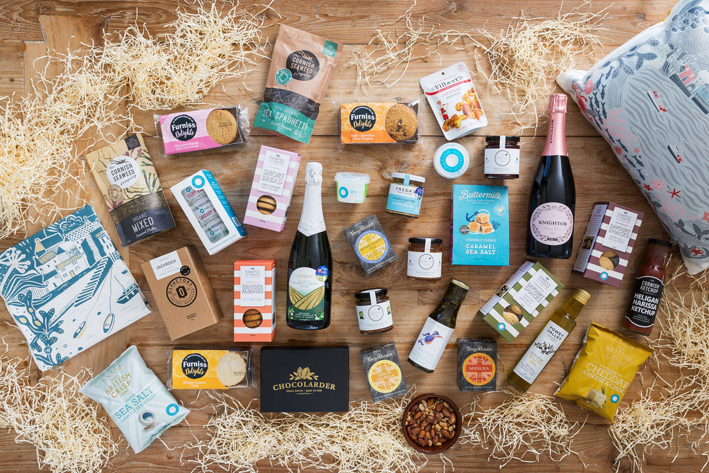 Hamper products including Cornish Sea Salt, Cornish Larder, Chocolarder and Olfactory