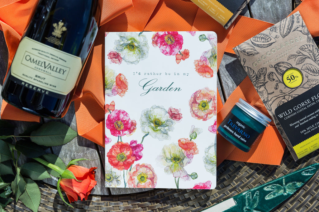 Garden Hamper contents including floral card, Chocolarder chocolate and Camel Valley wine