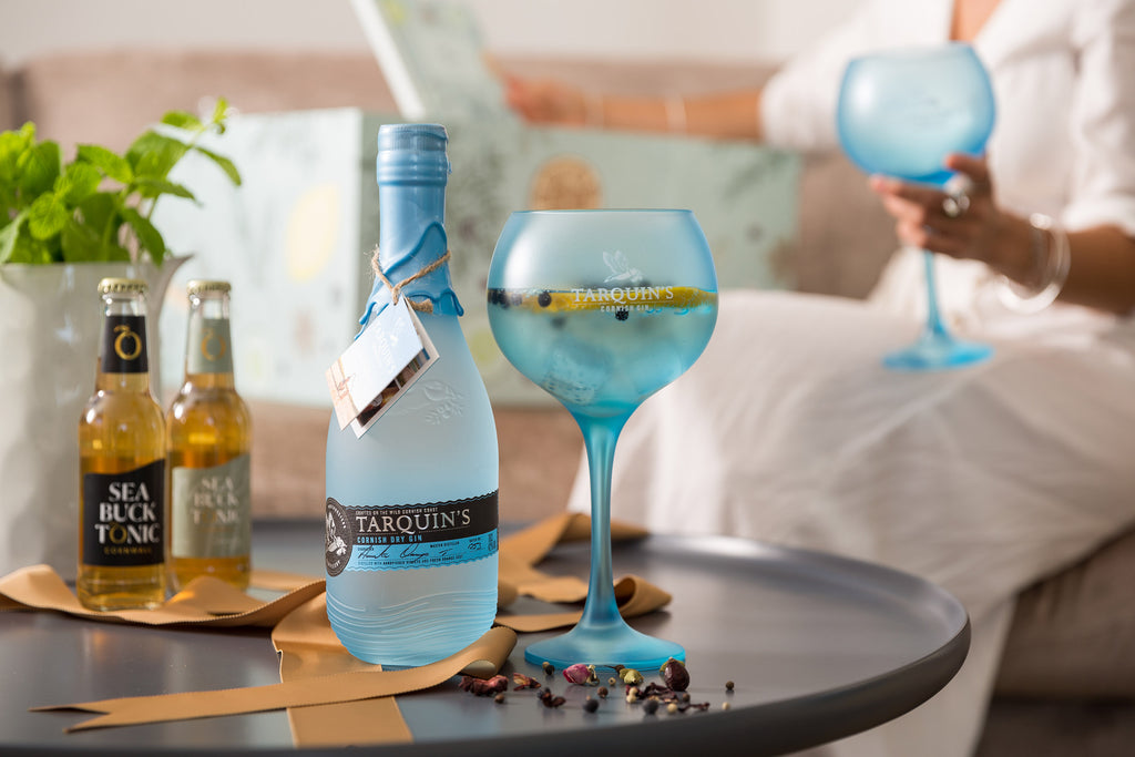 Gin Hamper contents with blue Tarquin's Gin bottle