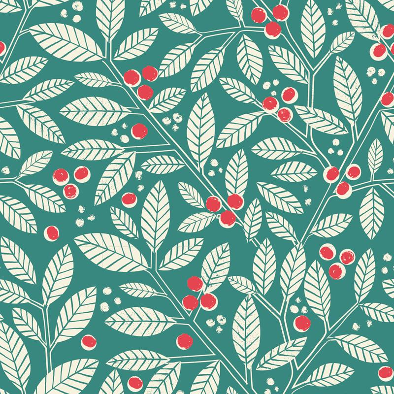 Festive Berries and Leaves Christmas Wrapping Paper