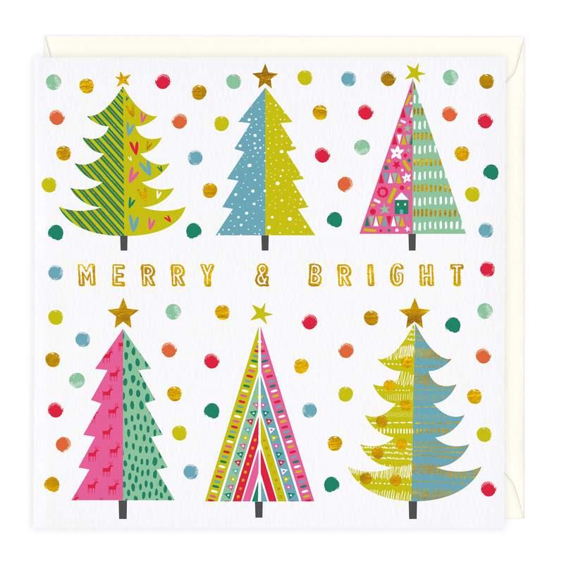 Patterned trees Christmas card