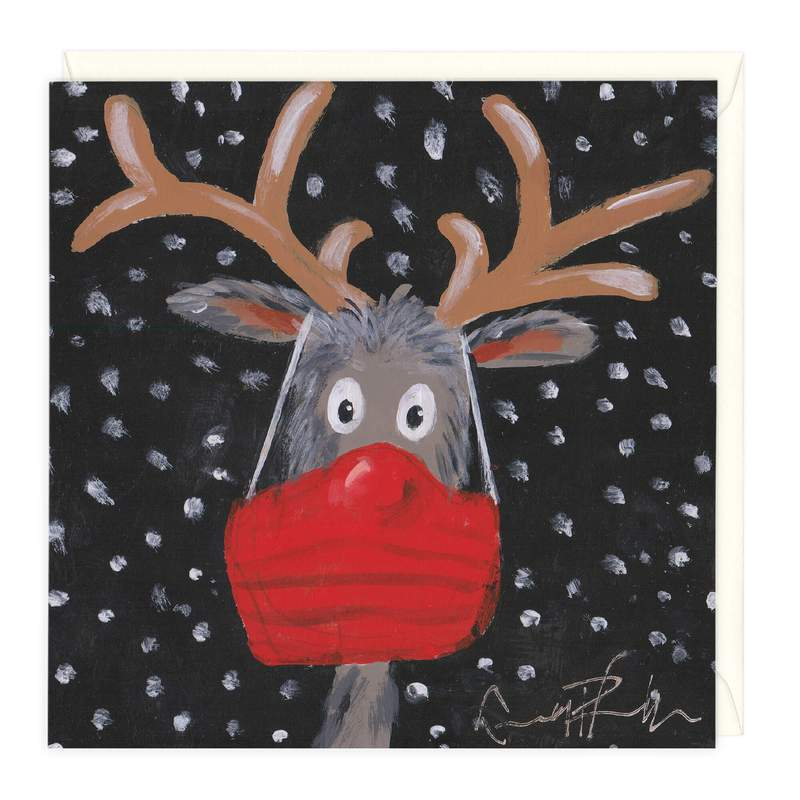Rudolph the Red Masked Reindeer Christmas Card
