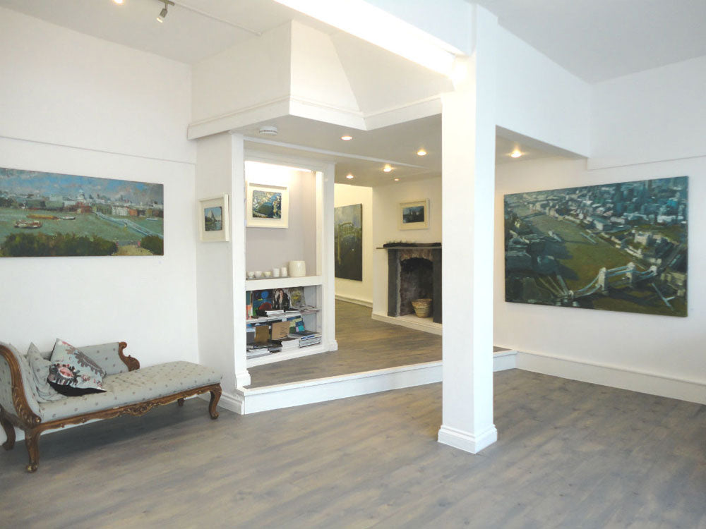 Interior of Cornwall Contemporary with Neil Pinkett's paintings