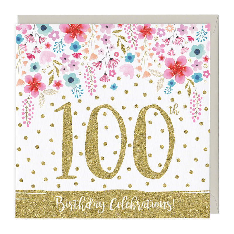 100th Birthday Celebrations Glitter Card
