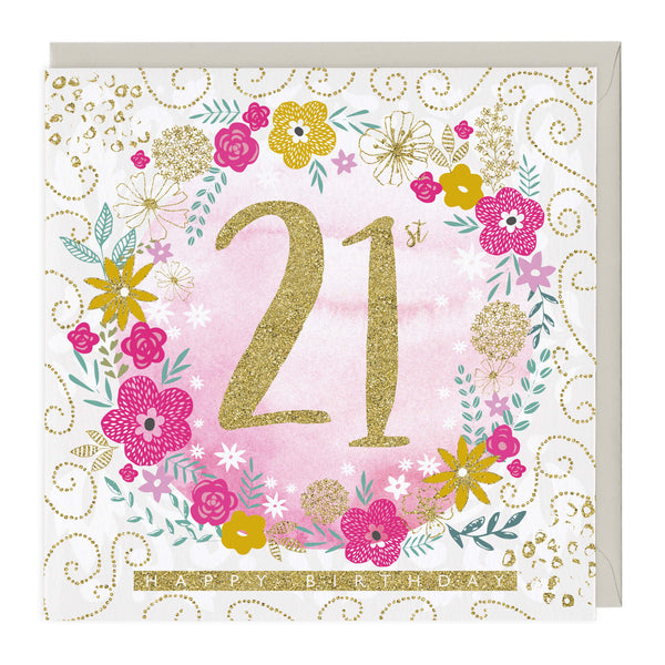 21st Happy Birthday Glitter Card